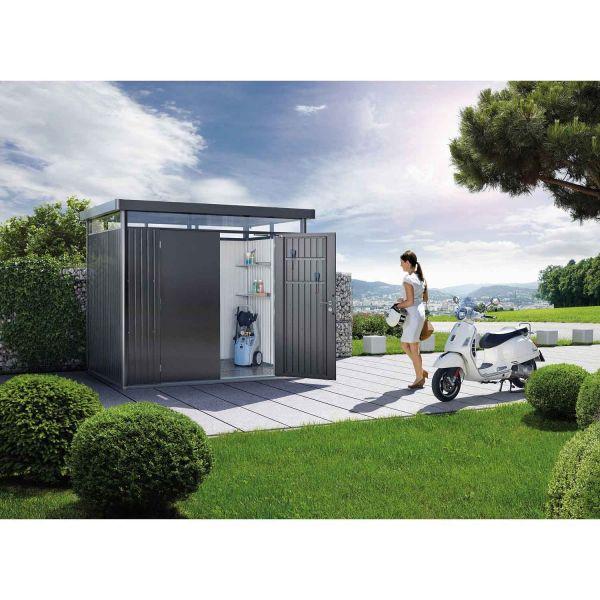 Biohort Gerätehaus HighLine Gr. H1, dunkelgrau-metallic, Doppeltür 1550x2750x2220 mm