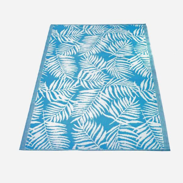 Nordje Teppich Outdoor | in Blau | 120x180cm | mit Blattmuster | aus Recycling-Material