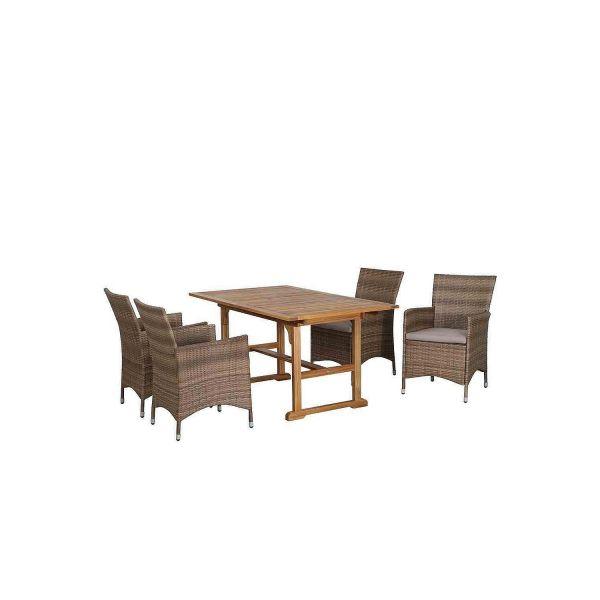 Siena Garden 357665 Eco Box Milano 5-Teilig 4 Stühle aus Geflecht + Tisch Akazie