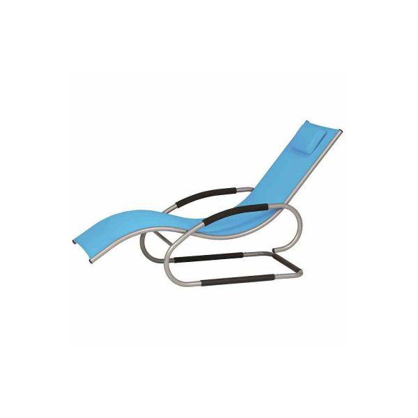 Relaxliege Risa aus hochwertigem Gardino Stoff in Blau mit Textillene und Alugestell von Nordje