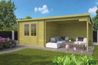 Gartenhaus - Blockhütte Aenna mit Schutzdach IMPRÄGN.   von Nordje   300x598x217cm