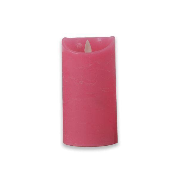 Nordje LED Kerze aus Echtwachs | bewegliche Flamme | Timer in Fuchsia