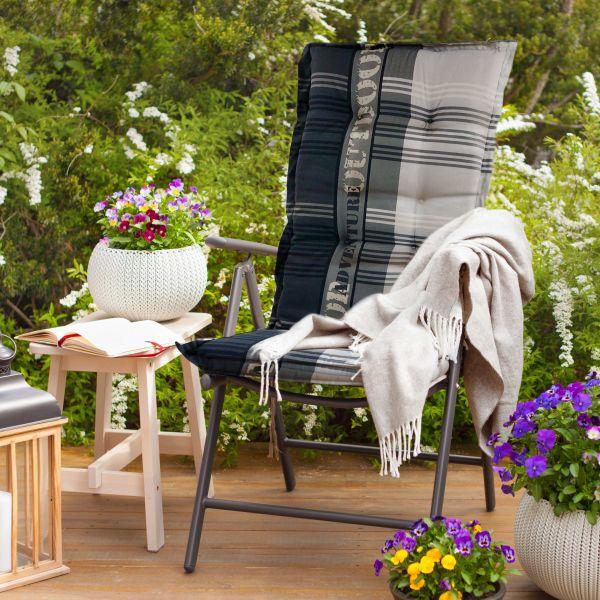 Madison Gartenmöbelauflage Adventure Grey Hochlehner Kissen Auflage 1230x500x60 mm