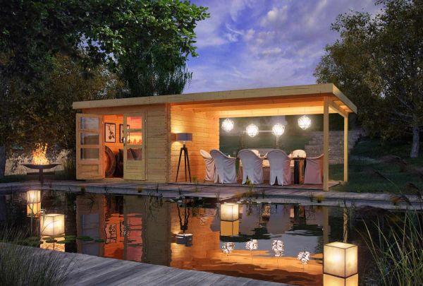 "Karibu | Gartenhaus ""Bastrup 5"" SET AKTION | naturbelassen | mit Anbaudach 4,0 m"