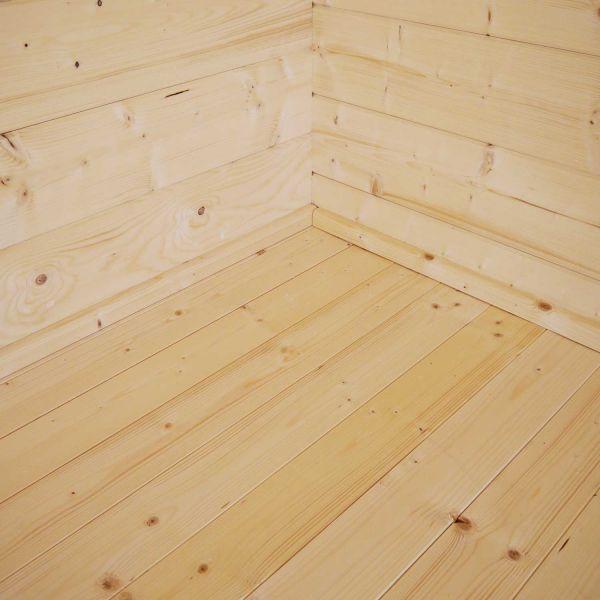 Fussbodenset für Gartenhaus - Blockhütte Fejsal | mit Schutzdach | von Nordje | 800x350x302cm